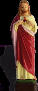 Statue du Sacré-Cœur - Résine peinte - 16 cm