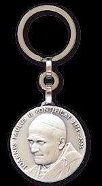 Porte-clés Jean-Paul II - Métal argenté - 29 mm