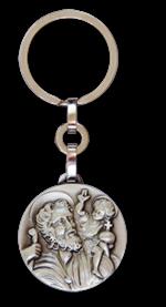 Porte-clés Saint Christophe - Métal argenté - 30 mm