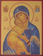 Icône Or Vierge de tendresse de Vladimir (bleue)