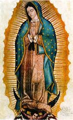 Image plastifiée N D de Guadalupe prière des enfants à naître