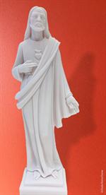 Statue du Sacré-Cœur de Jésus en albâtre - 27 cm