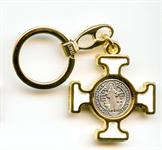 Porte-clés Croix celte Saint Benoît blanc
