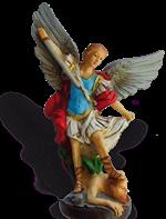 Statue de saint Michel - Résine peinte - 16 cm