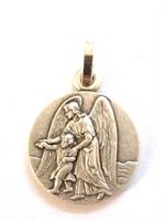 Médaille Ange Gardien en métal argentée 16 mm