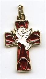 Croix de cou Esprit-Saint émaillée 4 cm rouge