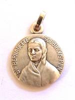 Médaille Sainte Bernadette - Métal argenté - 16 mm