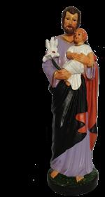Statue saint Joseph en résine peinte 16 cm