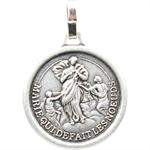 Médaille Marie qui défait les noeuds métal argenté 16 mm