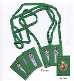 Scapulaire en tissu vert du Coeur Immaculé de Marie (pochette familiale)