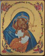 Icône Or La Vierge à la couronne fleurie